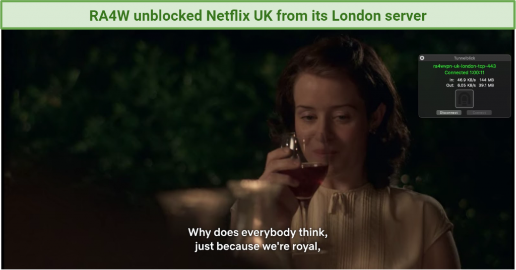 screenshot of Netflix player streaming a show with RA4W