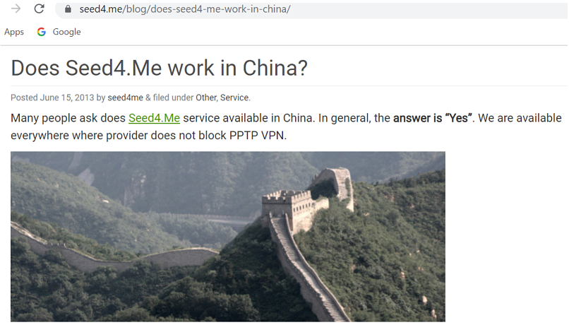 A screenshot of Seed4.Me's website claiming it works in China