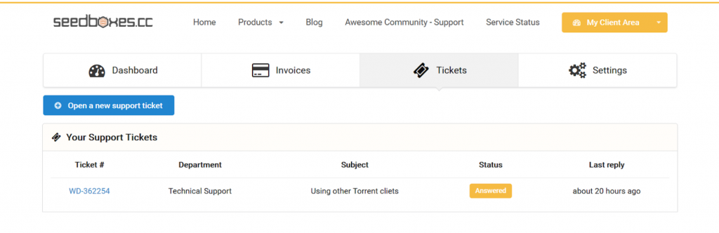 A screenshot of Seedboxes.cc's ticketed support system