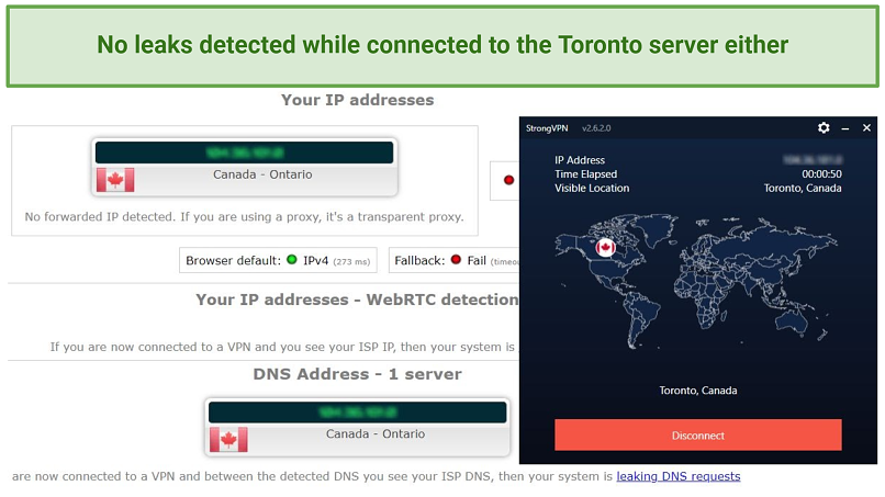 IPLeak test results while connected to the Toronto, Canada server
