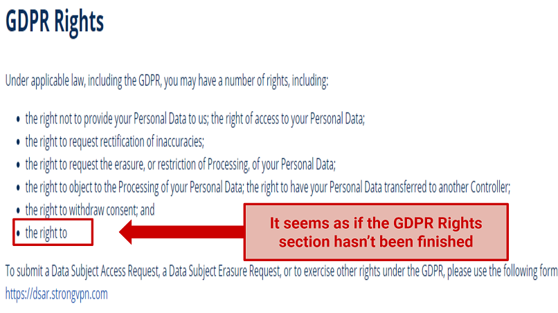 Screenshot from StrongVPN's Privacy Policy related to GDPR rights