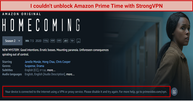 Amazon Prime Video notified me to disable my VPN so I can stream their content