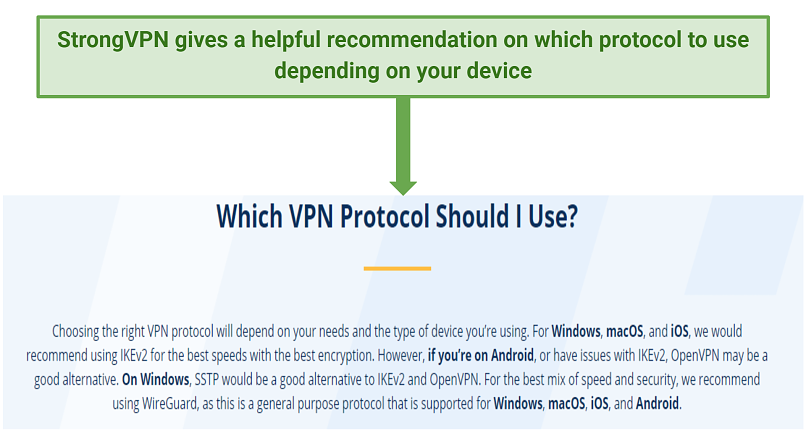 StrongVPN's recommendation on their website