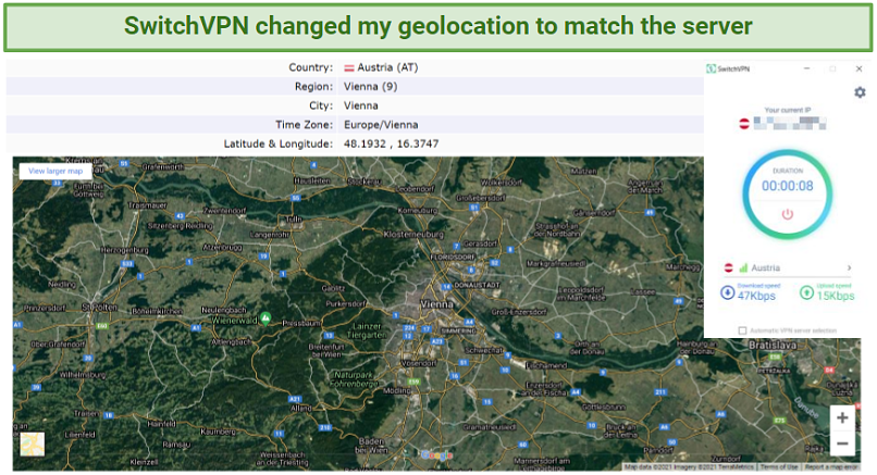 Screenshot showing SwitchVPN changed geolocation with a new IP.