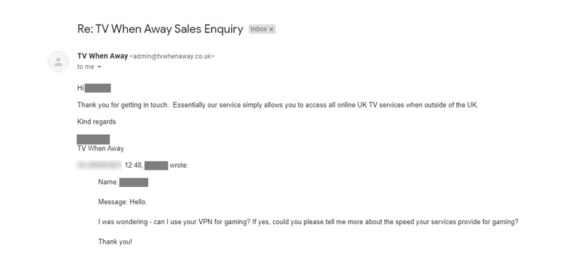 A screenshot of TV When Away's customer service response.