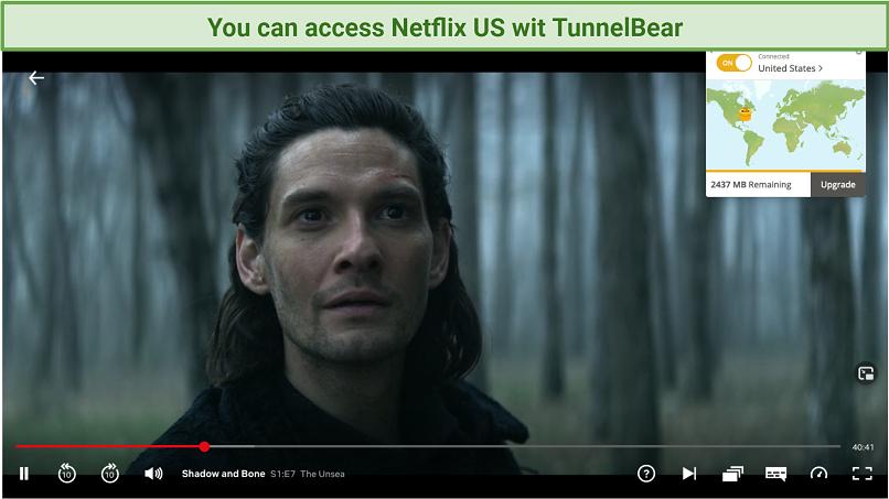Screenshot of TunnelBear unblocking Netflix US