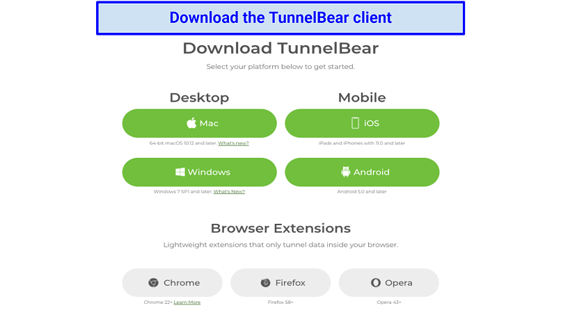 Graphic showing TunnelBear apps