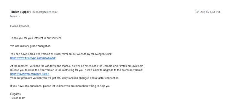 A screenshot of a reply from Tuxler's support team.