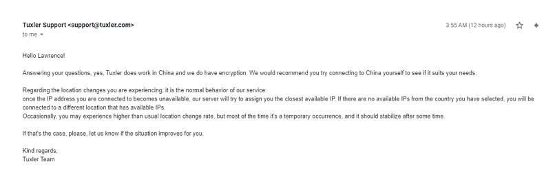 A screenshot of a reply from Tuxler support.