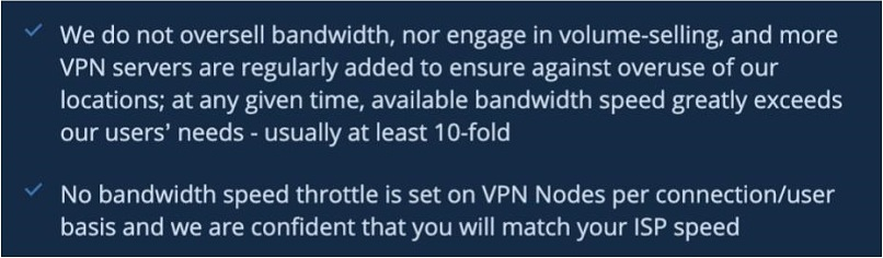 Screenshot of VPN.ac's website regarding bandwidth limits