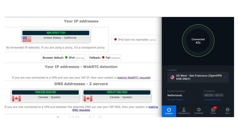 Screenshot of DNS leak test while using VPN.ac