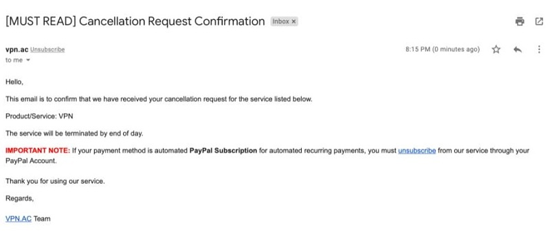 Screenshot of email cancellation request confirmation