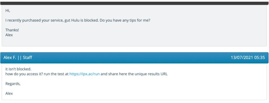 Screenshot of VPN.ac's customer support reply