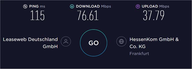 A screenshot of VPN.ht's speed test results