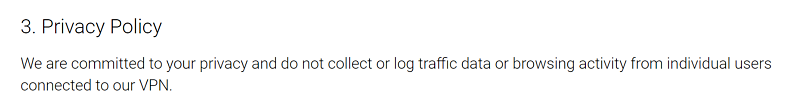 A screenshot of VPN.ht's privacy policy