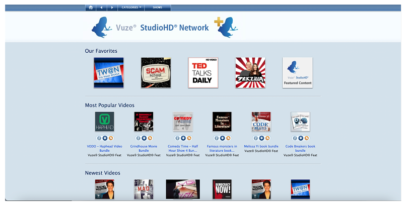 Screenshot showing torrent site Vuze StudioHD Network homepage