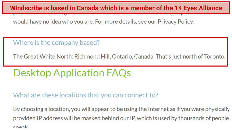 A picture showing the Windscribe FAQ section