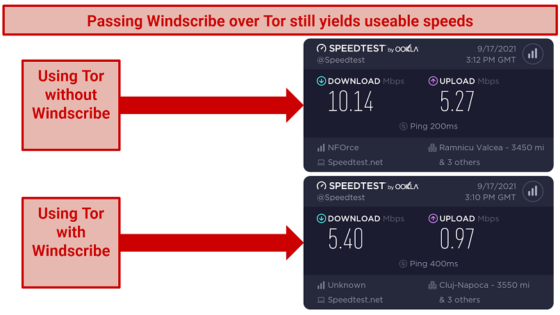 A screenshot showing how Windscribe performs once paired with Tor