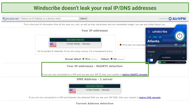 A screenshot showing how Windscribe managed to pass an IP leak test successfully