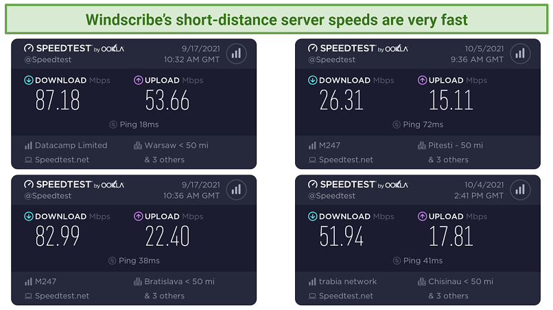 A picture showing Windscribe good long-distance server speeds test results