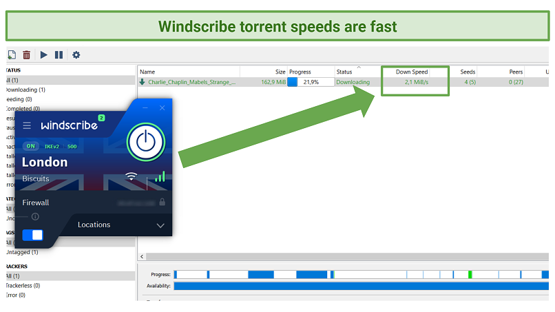A picture showing the Windscribe's fast torrent speeds