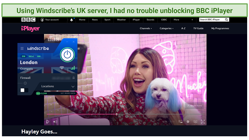 A picture showing how Windscribe successfully unblocks BBC iPlayer