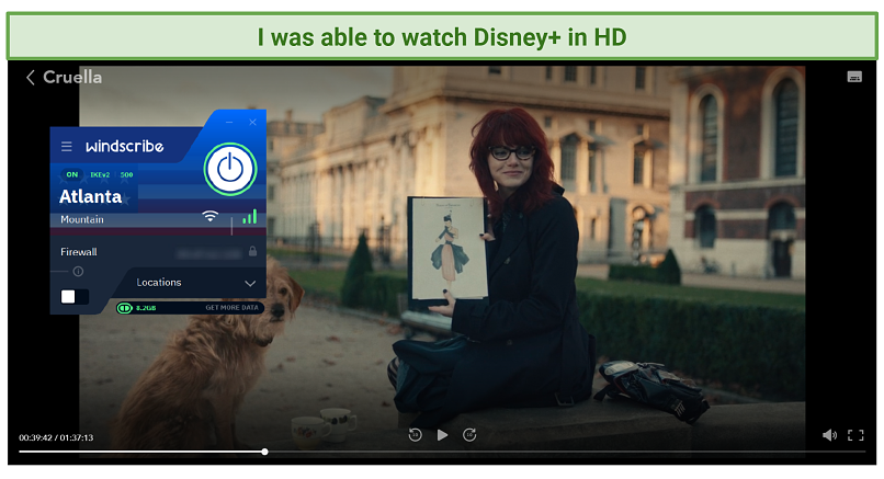 A picture showing how Windscribe successfully unblocks Disney+.