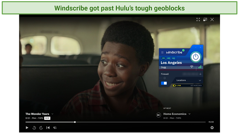 A picture showing how Windscribe successfully unblocks Hulu