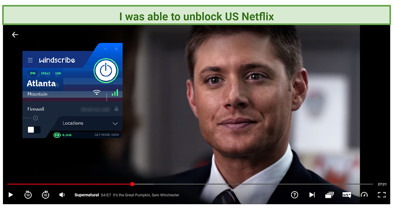 A picture showing how Windscribe successfully unblocks US Netflix