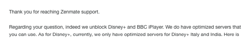 A screenshot of ZenMate customer support confirming it works with Disney+ and iPlayer