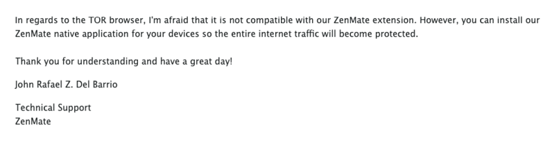 A screenshot of my conversation with ZenMate support about TOR