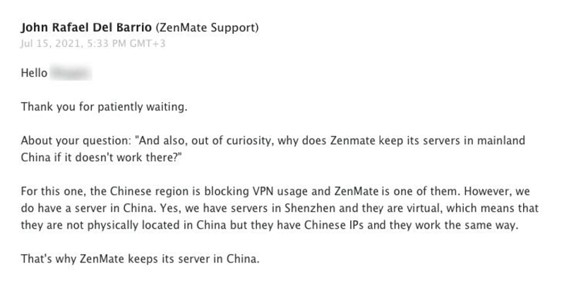 A screenshot of my conversation with ZenMate support about servers in China