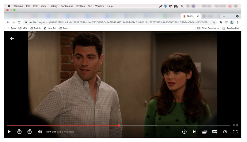 A screenshot of ZenMate unblocking US Netflix
