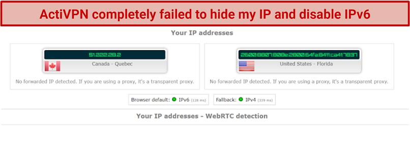 screenshot of ActiVPN IP, IPv6, and DNS test