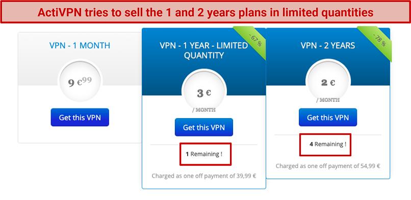 screenshot of ActiVPN's subscriptions