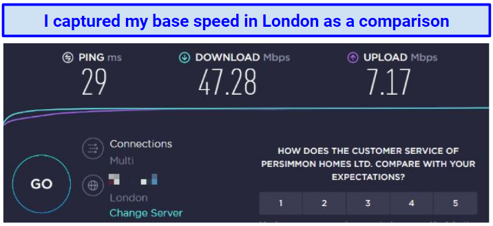 Screenshot showing Anonine VPN speed test for base speed in the UK