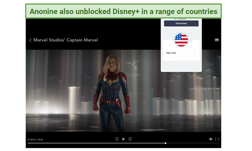 A screenshot of the VPN Anonine unblocking Disney+, with the Captain Marvel movie playing in the background.
