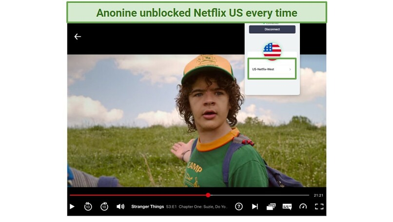A screenshot of Anonine VPn unblocking Netflix, with Stranger Things S3:E1 streaming in the background.