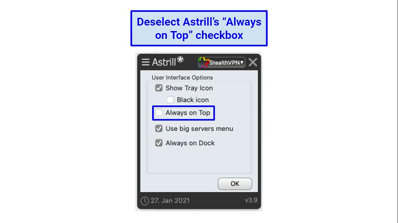 A screenshot of the Astrill VPN app.