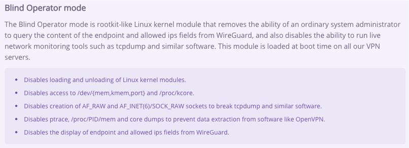 A screenshot of AzireVPN's website, explaining the blind operator mode