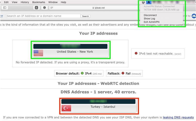 A screenshot of AzireVPN's DNS leak