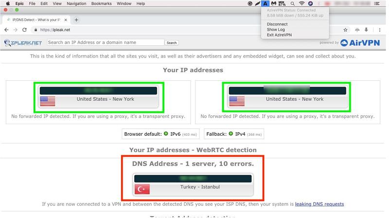 A screenshot of AzireVPN's leak test results