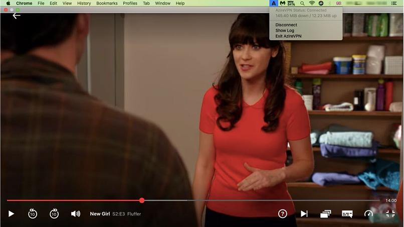 screenshot of AzireVPN unblocking Netflix