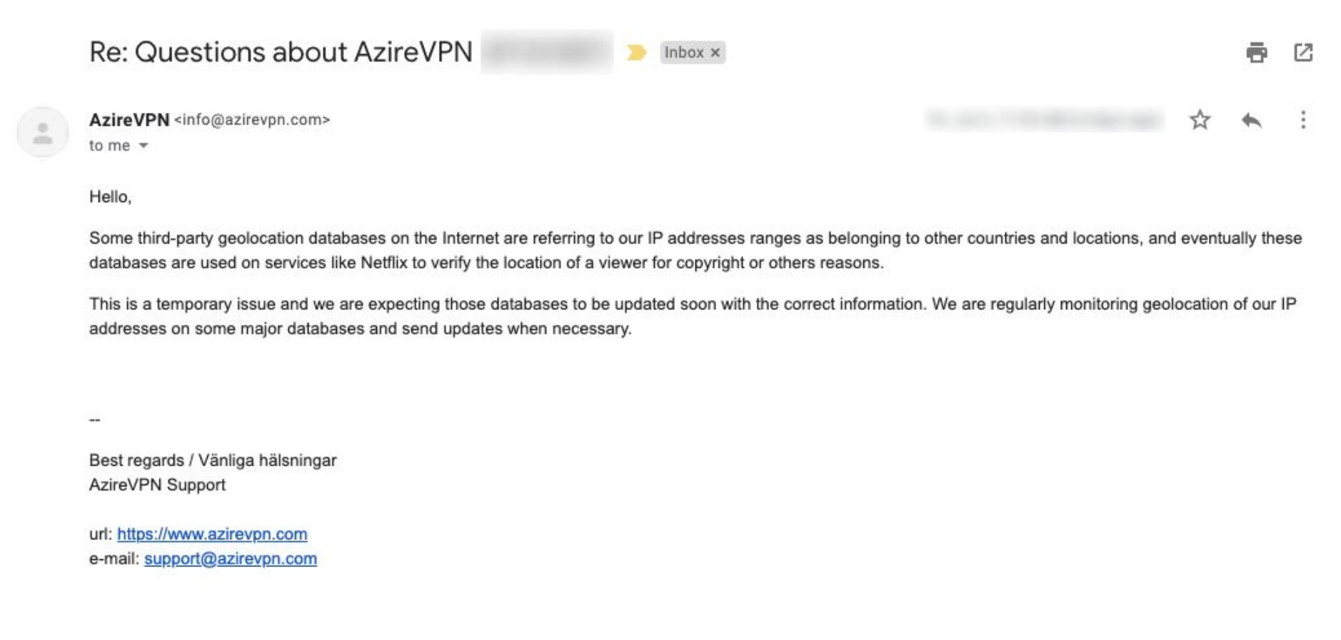 A screenshot of my conversation with AzireVPN support