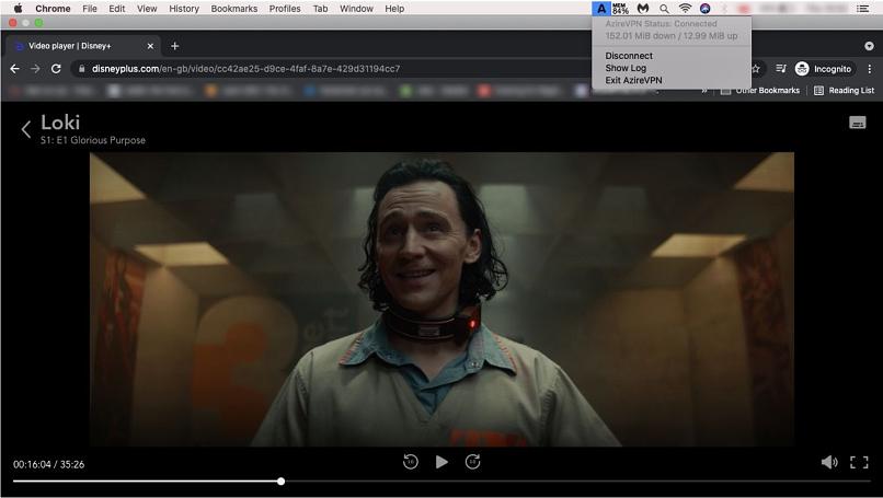 A screenshot of AzireVPN unblocking Disney+