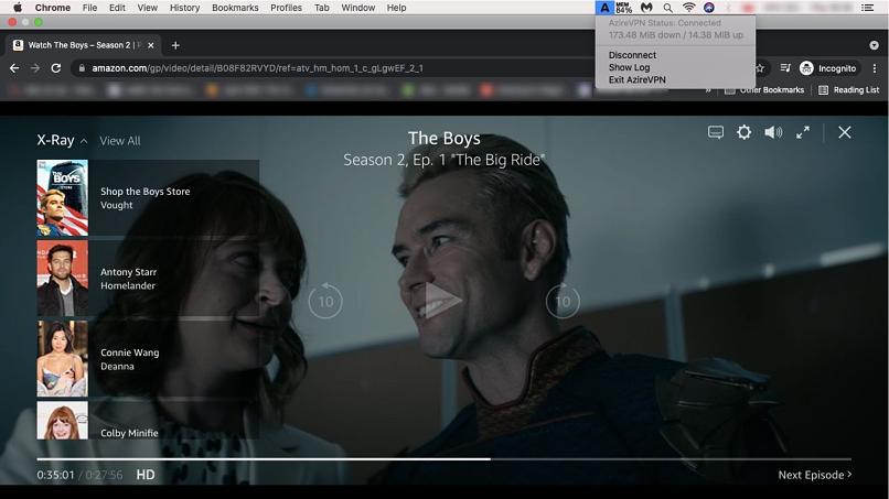 A screenshot of AzireVPN unblocking Amazon Prime Video
