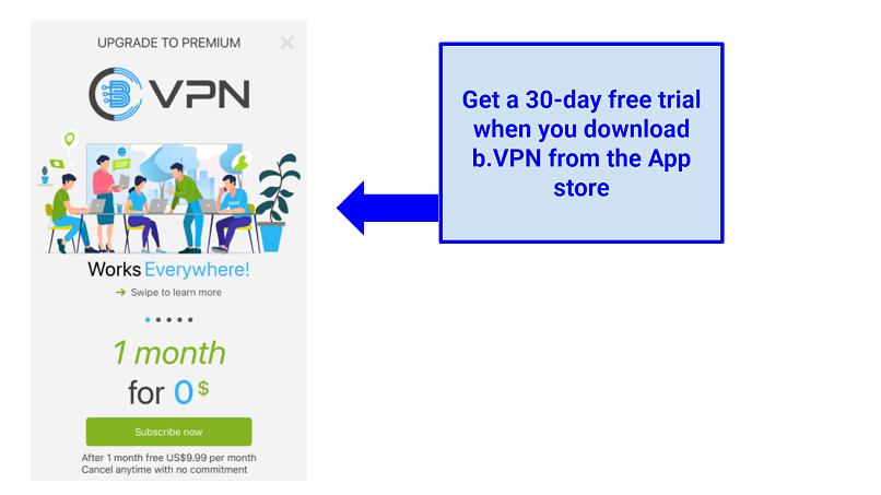 Screenshot showing bVPN's free-trial option