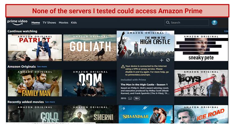 Screenshot showing Amazon Prime Video's homescreen blocking streaming access