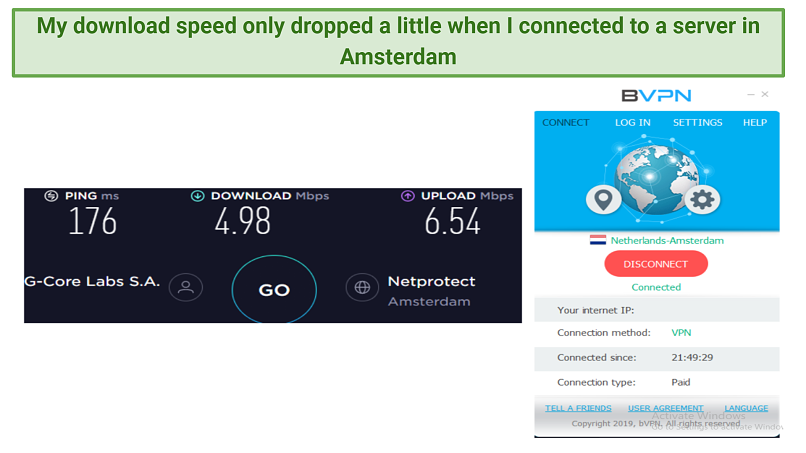 Screenshot showing download and upload speeds when using bVPN's Amsterdam server