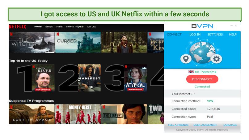 Screenshot showing Netflix homescreen using bVPN's UK server